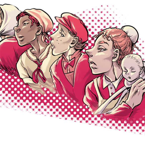 Kvinnotryck 4-2017, del av illustration Lisa Medin